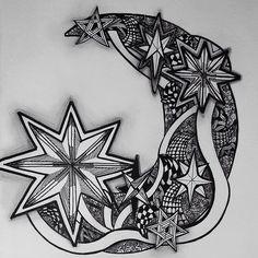 Tiffany Wood #zentangle #doodle #moon #stars