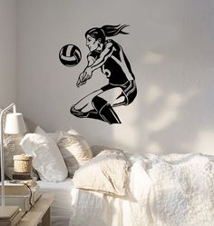 Wall Sticker Sport Volleyball Player Beach Woma Girl Female Vinyl Decal (z3068)