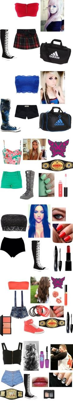 I wrestle and these are some of my outfits Wrestling Clothes, Wrestling Outfits, Wwe Outfits, Wrestling Divas, Sexy Outfits, Wwe Costumes, Converse, Wwe Stuff, Aj Lee