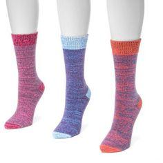 MUK Luks Women's 3 Pair Pack Microfiber Boots Socks, Multicolor