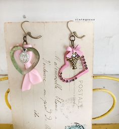 trinketsupcycled earrings hearts charms vintage pink by Arey
