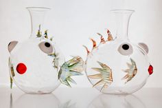 Octopus's Garden: la nuova collezione estiva 2014 di #Centrotavola #Milano. Decanter in vetro soffiato a forma di pesce scorpione. Blown glass decanter lionfish shaped.