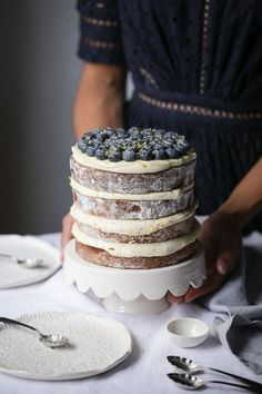 naked Lemon and Blueberry Layer Cake + Cream Cheese Frosting | The Polka Dotter