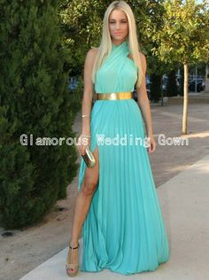 Turquoise Chiffon With Gold Belt Prom Dresses 2014 New Arrival Free Shipping Halter With Sexy Long High Leg Slit Pleat Dress $119.00