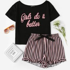 SHEIN Letter Print Short Sleeve Top and Striped Shorts Pajama Set Ladies Summer Sleep Wears Womens Casual Pajama Sets Sexy Woman Cute Pajama Sets, Cute Pajamas, Pajamas Women, Pyjama Sexy, Pyjama Satin, Pajama Outfits, Pajama Shorts, Cute Lazy Outfits, Girl Outfits