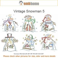 Vintage Snowman 5 Machine Embroidery Designs Instant Download 4x4 5x5 6x6 hoop 10 designs APE2186