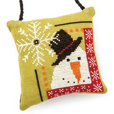 Frosty ornament from the Just CrossStitch Christmas Ornaments issue. Order a print or digital issue here: http://www.anniescatalog.com/detail.html?prod_id=104256