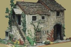 Jethro's Barn 1:12 scale stone model - Baydale Farm - opens, furnished, with lights