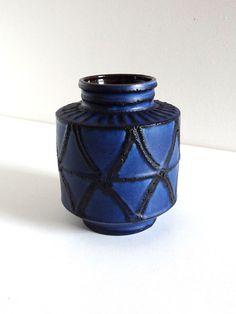 Mid Century Blue Ceramic Vase WEST GERMANY  Vintage by BrocAndPop
