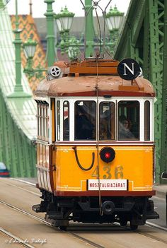 Budapest, old Tram on Liberty Bridge