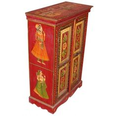 Hand Painted Wooden Cabinet [ INBC27 ]