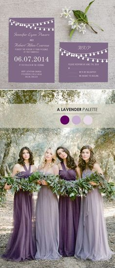 shades of misted purple and mauve fall wedding colors and wedding invitations