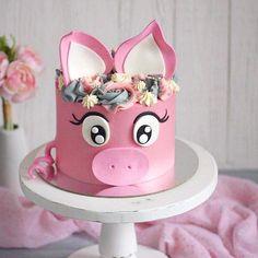 Beautiful Cakes, Amazing Cakes, Piggy Cake, Pig Birthday Cakes, Farm Cake, Animal Cakes, Girl Cakes, Dog Cakes, Cake Decorating Techniques