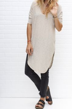 v neck t-shirt dress / taupe from ascot hart