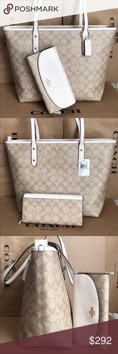 Coach Set 100% Authentic Coach Tote Bag and Wallet, brand new with tag! Coach Bags Totes