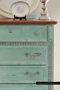 This is so pretty! Perfect for shabby chic. #shabbychicdressersideas