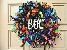 Halloween Door Wreath Mesh Halloween Wreath Door Decor Door