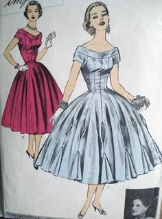 BEAUTIFUL 1950s BATTILOCCHI EVENING DRESS PATTERN PRINCESS LINE, WIDE SKIRTED, FABRIC INSETS, GODETS SET in SKIRT EDGE, ABSOLUTELY GORGEOUS ...