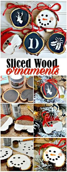 DIY Sliced Wood Christmas Ornaments. An easy and frugal DIY ornaments using sliced pieces of wood and paint. Look so adorable and cute on the tree and also make a thoughtful gift idea for this holiday!