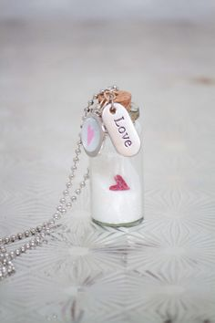 LOVE IN A BOTTLE glass vial necklace by aRealHoot on Etsy, $10.00