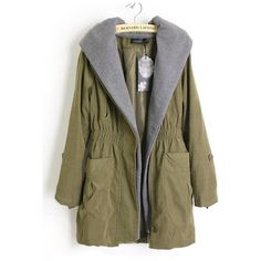 Hooded Warm Long Trench Coat Green$75.00 (1.275 ARS) ❤ liked on Polyvore featuring outerwear, coats, jackets, tops, long coat, long hooded coat, green coat, hooded trenchcoat and green trench coat