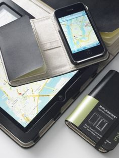 Moleskine covers for iPhones. It would be amazing to have everything all in one place. This looks so classy.