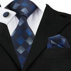 Navy Blue and Sky Blue Silk Necktie Set LBW354