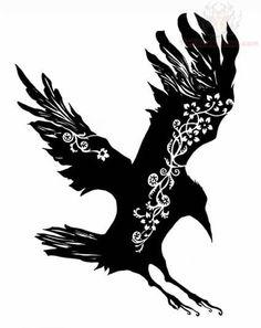 Sitting Celtic Crow Tattoo Design