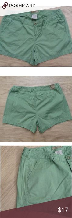 """Green Shorts Green shorts, 98% cotton, 2% spandex, side slat pockets and 2 back pockets, split side seams at hem, 4.5"""" inseam, waist measures 18.25"""" across laid flat. Size 12, purchased from Torrid. torrid Shorts"""