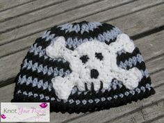 Newborn Beanie With Skull Applique - free crochet pattern @ Knot Your Nanas Crochet