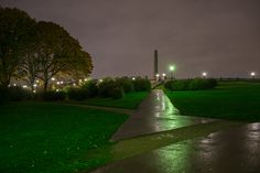 Vigeland Park at night, in the rain :) Frognerparken, Oslo, Norway