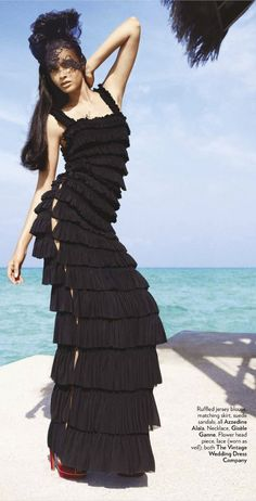 Ruffled blouse and skirt Azzedine Alaïa  :: Photo by Luis Monteiro http://myfashionologie.blogspot.com/2012/07/diana-penty-by-luis-monteiro-for-vogue.html