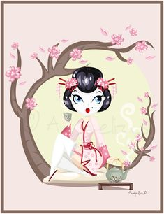 Geisha Pin up by OoAngeliusoO.deviantart.com on @deviantART