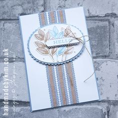 Stampin' Up! Demonstrator Kim Price : Creating a background with Scalloped Linen Ribbon Card Making Inspiration, My Stamp, Embossing Folder, Fern, I Card, Your Cards, Cardmaking, Stampin Up, Ribbon