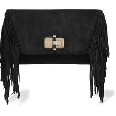Diane von Furstenberg Voyage Boho fringed suede clutch (7.920 RUB) ❤ liked on Polyvore featuring bags, handbags, clutches, black, suede leather handbags, bohemian purses, bohemian style handbags, suede fringe purse and boho handbags
