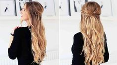 Half updo fishtail hairstyle. A little bit bohemian, effortless and feminine - this hairstyle is perfect for your holiday parties or any special event.