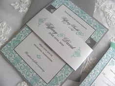 ivory,tiffany blue, gray invitation | Aqua/Tiffany Blue and Pewter Damask Wedding Invitation by citlali