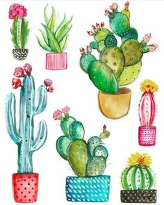 Watercolor handpainted cactus plant and succulent plant in p Cactus Drawing, Cactus Painting, Watercolor Cactus, Painting & Drawing, Watercolor Paintings, Watercolor Succulents, Cactus Decor, Cactus Art, Cactus Flower