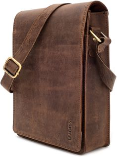 "Amazon.com: LEABAGS - ""DOVER"" Small Messenger Bag Genuine Buffalo Leather Unisex Bag - Nutmeg: Clothing"
