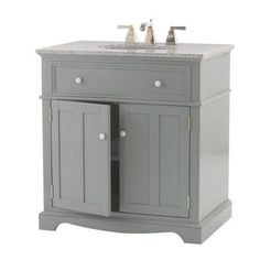 Home Decorators Collection Fremont 32 in. Vanity in Grey with Granite Vanity Top in Grey-2943800270 - The Home Depot