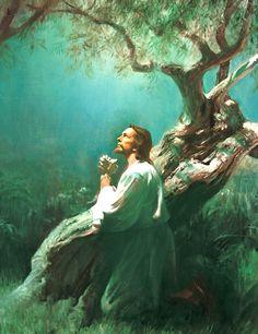 Jesus praying in the Garden of Gethsemene