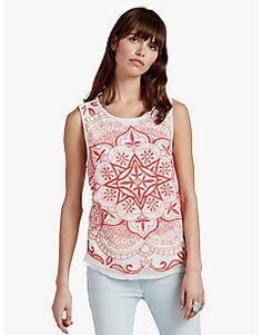 EMBROIDERED MESH TANK, MARSHMALLOW