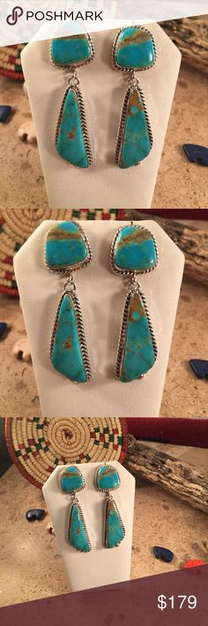 Kingman Turquoise & Sterling Navajo Dangles This is a pair of Navajo Sterling Silver and Kingman Turquoise they are right a 2 1/4  inches long and 5/8 of an inch wide. Signed by artist Matthew Jack and stamped Sterling.   Please contact me with any questions and thank you for looking. Jewelry Earrings