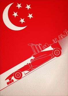 F1 Poster Art - Singapore. Part of Formula One Print Series by PJ Tierney #SMDriver
