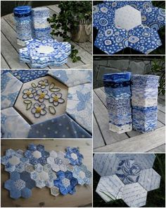 Patchwork quilt hexagon appliques 21 ideas for 2019 Quilting Tutorials, Quilting Projects, Patchwork Quilting, Hand Quilting, Patchwork Ideas, Scrappy Quilts, Blue Quilts, White Quilts, English Paper Piecing