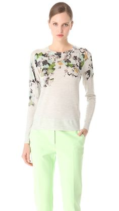 3.1 Phillip Lim Floral Print Pullover Floral Sweater, Shearling Jacket, Embellished Dress, Collar And Cuff, 3.1 Phillip Lim, Wool Sweaters, Pop Fashion, Nice Dresses, Floral Prints