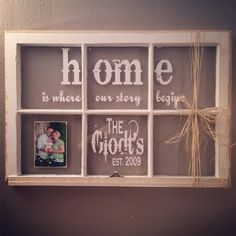 Trendy diy home decor shabby chic wall hangings old windows Ideas Source by Window Frame Crafts, Old Window Panes, Window Frame Decor, Old Window Projects, Window Wall, Old Window Ideas, Window Pane Pictures, Window Signs, Ideas With Old Windows
