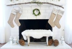 Beautiful fireplaces decorated for xmas