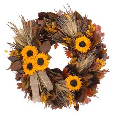 Twig and wheat wreath with faux leaves and sunflowers and a jute ribbon.  Product: WreathConstruction Material: ...