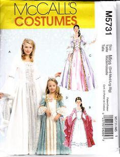 McCalls 5731 Costume Pattern Little Girls Renaissance Princess Rapunzel Fairy Four Dresses Sizes 3-8